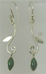 sterling leaf drop gemstone earrings
