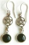 sterling pentagram and gemstone drop earrings