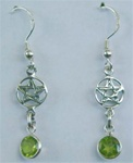 sterling pentagram and round gemstone earrings