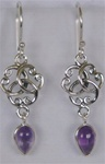 sterling round knot and gemstone earrings