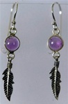 sterling feather and gemstone earrings