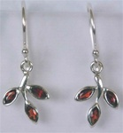 sterling gemstone leaf earrings
