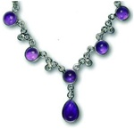 sterling necklace with six gemstones