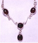 sterling necklace with four gemstones