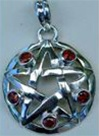 Silver Pentagram Pendant with five gemstones