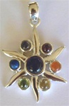 sterling chakra wheel pendant with gems