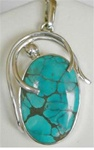 sterling oval turquoise pendant