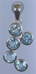 sterling five circles faceted gem pendant