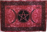 Red Triple Moon Tie-Dye Tapestry