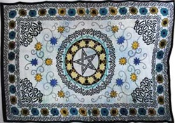 Pentagram and Flowers Tapestry