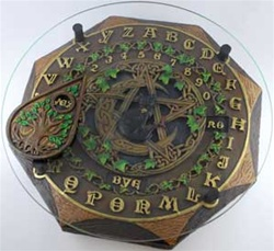 Black Cat Ouija Board with glass top
