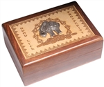 Engraved Box with Metal Elephant