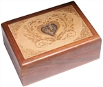 Engraved Box with Metal Heart