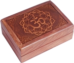 Om in Lotus Wooden Box