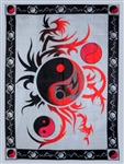 Red Grey Ying Yang tapestry