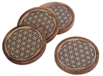 Wood and Glass Tile - Flower of Life