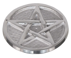 Pentagram round metal incense holder