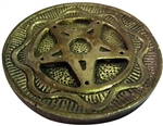 Fancy Pentagram round metal incense holder