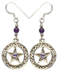 Sterling Pentagram Earrings with gemstones