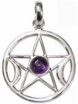 Sterling Pentagram Moon Pendant with amethyst