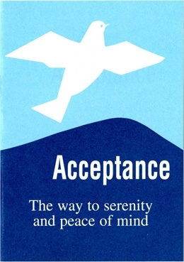 AA Acceptance Pamphlet - Blue Featuring a Dove and the words 'The Way to Serenity and Peace of Mind'