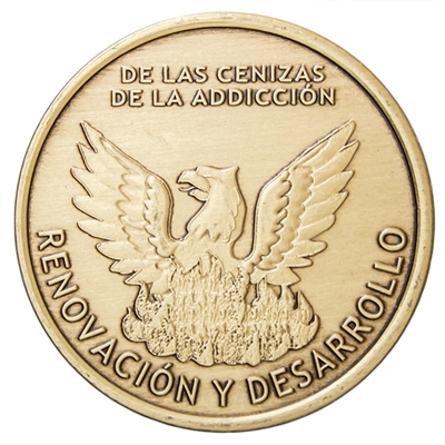 Spanish - Out Of The Ashes of Addiction Bronze Inspiration Medallion