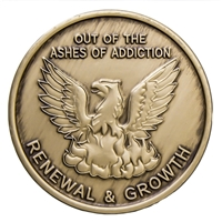 Out Of The Ashes of Addiction - Renewal & Growth Bronze Recovery Medallion