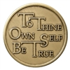 Recovery Slogan Bronze Medallion featuring To Thine Own Self Be True and the serenity prayer