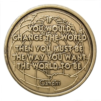 Gandhi Quote Bronze Inspirational Medallion
