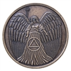 Guardian Angel Antique Bronze Medallion
