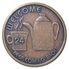 AA Welcome Coffee Pot Bronze Medallion