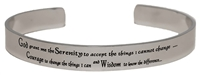 Stainless Steel Bangle Bracelet -or Cuff Bracelet  with the Serenity Prayer | RecoveryShop