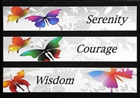 The Serenity Prayer Greeting Card featuring multicolored butterflies and the words Serenity, Courage, Wisdom