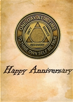 The Happy Anniversary Recovery Greeting Card features a picture of a blank Recovery Emporium Brand AA Anniversary Medallion
