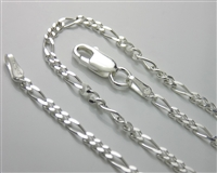 Sterling Silver Light Figaro Chain necklace With Spring Ring Clasp