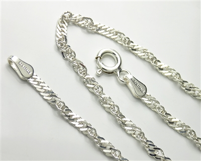 Sterling Silver Singapore Chain Necklace with Spring Ring Clasp