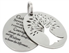 Stainless Steel Two Piece Tree of Life Pendant with Serenity Prayer
