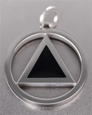 Stainless Steel AA Logo Pendant with Black Enamel Inlay