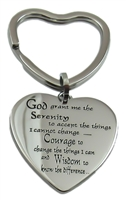 Heart Shaped Stainless Steel - Serenity Prayer Key Ring