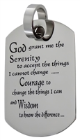 Stainless Steel Serenity Prayer Dog Tag Pendant