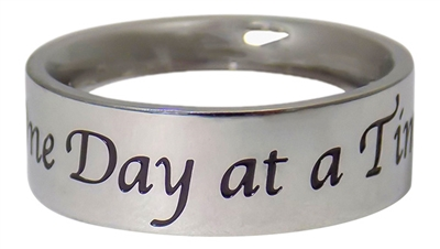 One Day at a Time Flat Band Stainless Steel Ring