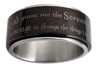 Black Spinner Ring with Serenity Prayer