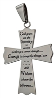 Polished Sterling Silver Cross Pendant with Serenity Prayer
