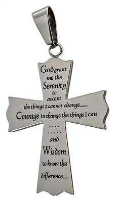 Polished Cross Pendant with Serenity Prayer