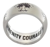 The Tree of Life - Fresh Start - Inner Inscription Ring - a stainless steel ring featuring an inner inscription with the words God, Serenity, Wisdom, and Courage found on the reverse of the ring (the portion of the ring that faces inward toward the finger