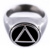 Solid Stainless Steel - AA Logo Ring with Black Enamel Accents