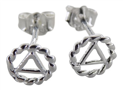 Sterling Silver Spiral Circle-Triangle AA Logo - Post Earrings (pair)