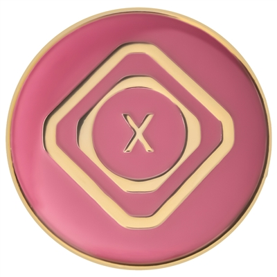 "The Just For Today Pink and Silver Tri-plate Medallion | $9.00 each | Features: a Roman numeral on the front of the coin accompanied by the words ""Just For Today"" with a unique diamond-circle design."