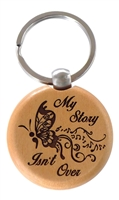 Recovery Emporium, RecoveryShop's - My Story Isn't Over Wooden Engraved Key Tag or Key Chain featuring the semicolon butterfly