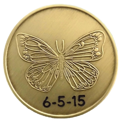 Engraved Al-Anon Medallion - Serenity Prayer Butterfly with options for having one's anniversary date engraved on either the top or bottom half of the medallion.